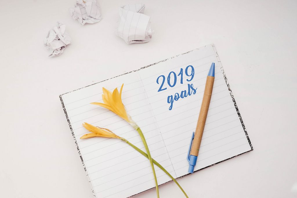 Top view of open notebook with written 2019 goals. New year goals. White background.
