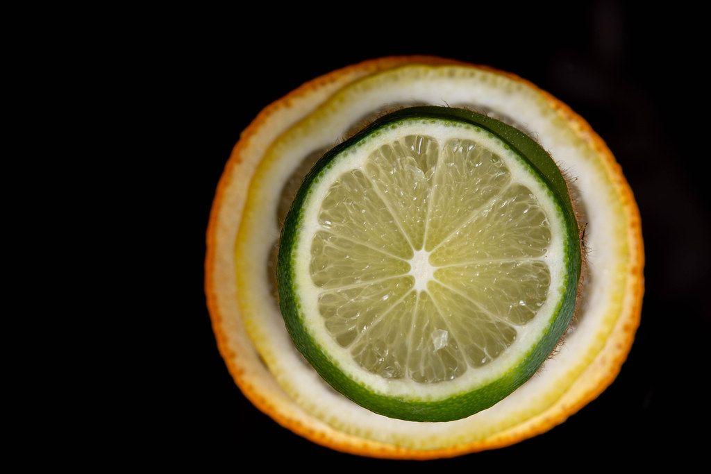 Top view of sliced Orange Lemon and Lime