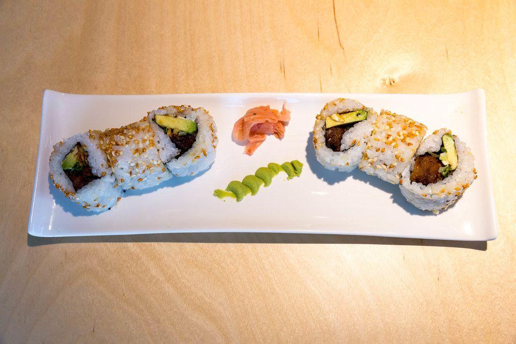 Top view of vegan sushi