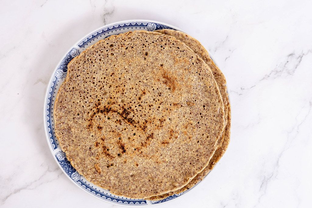 Top view of Whole Wheat Flour Tortillas on the plate