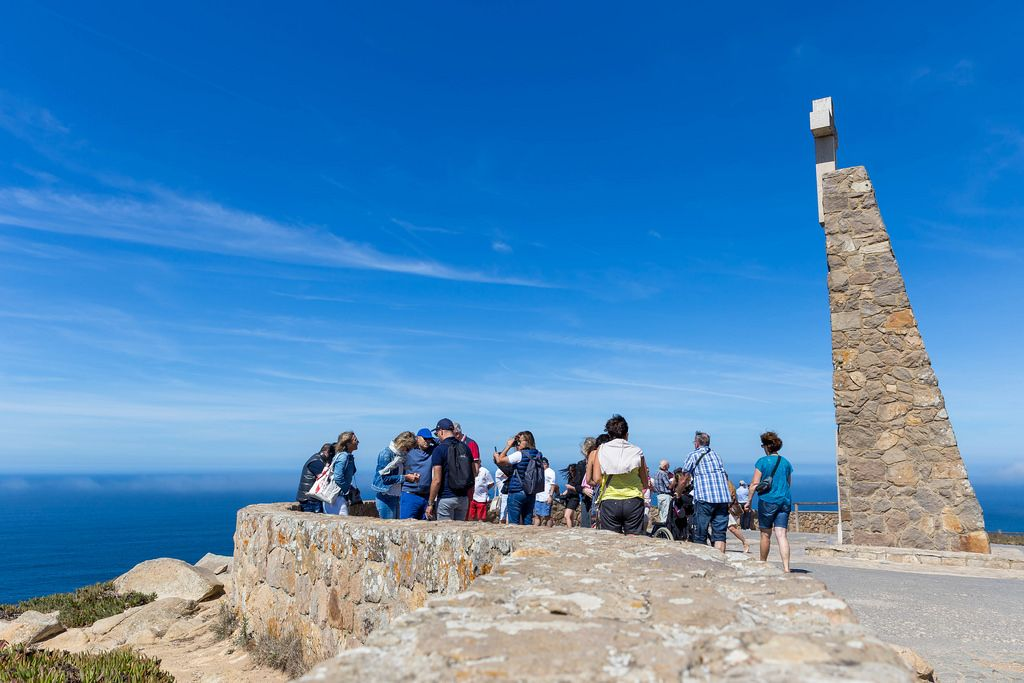Tourists on the viewing platform at Cabo da Roca