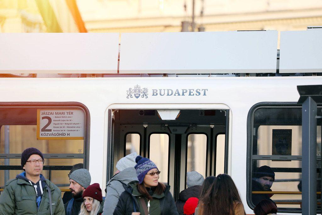 Tourists waiting Budapest tram