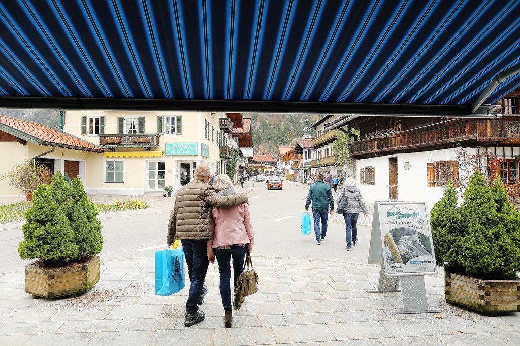Tourists walking in Reit im Winkl, German village