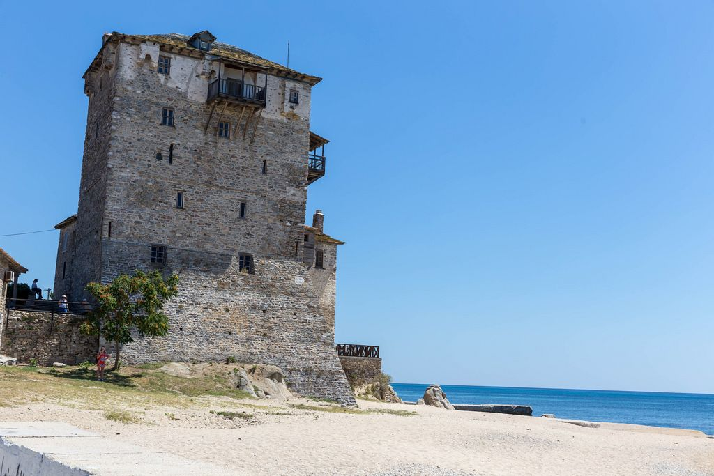 Tower of Prosfori on the beach of Ouranoupoli, Greece