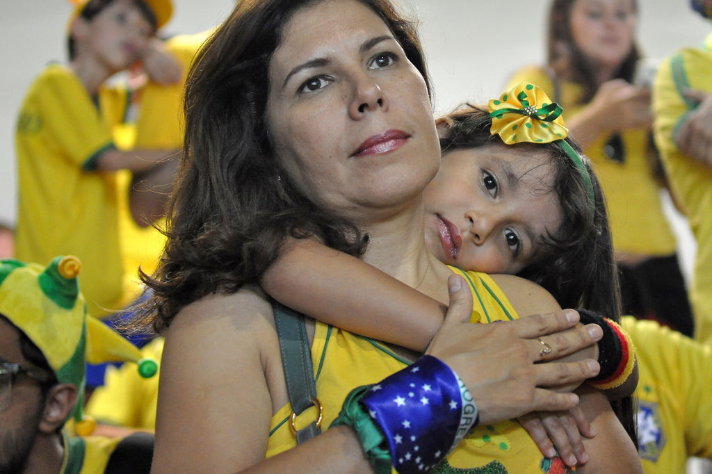 Traurige brasilianische Fans bei der Fußball-WM 2014 nach der Niederlage gegen Deutschland