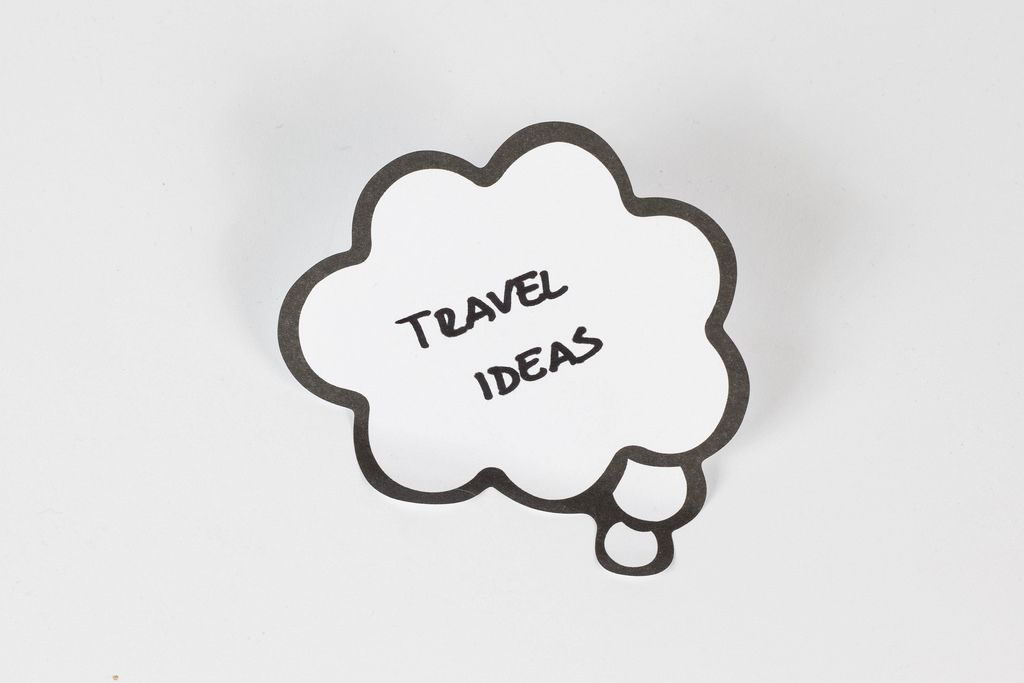 Travel ideas written on a thought bubble
