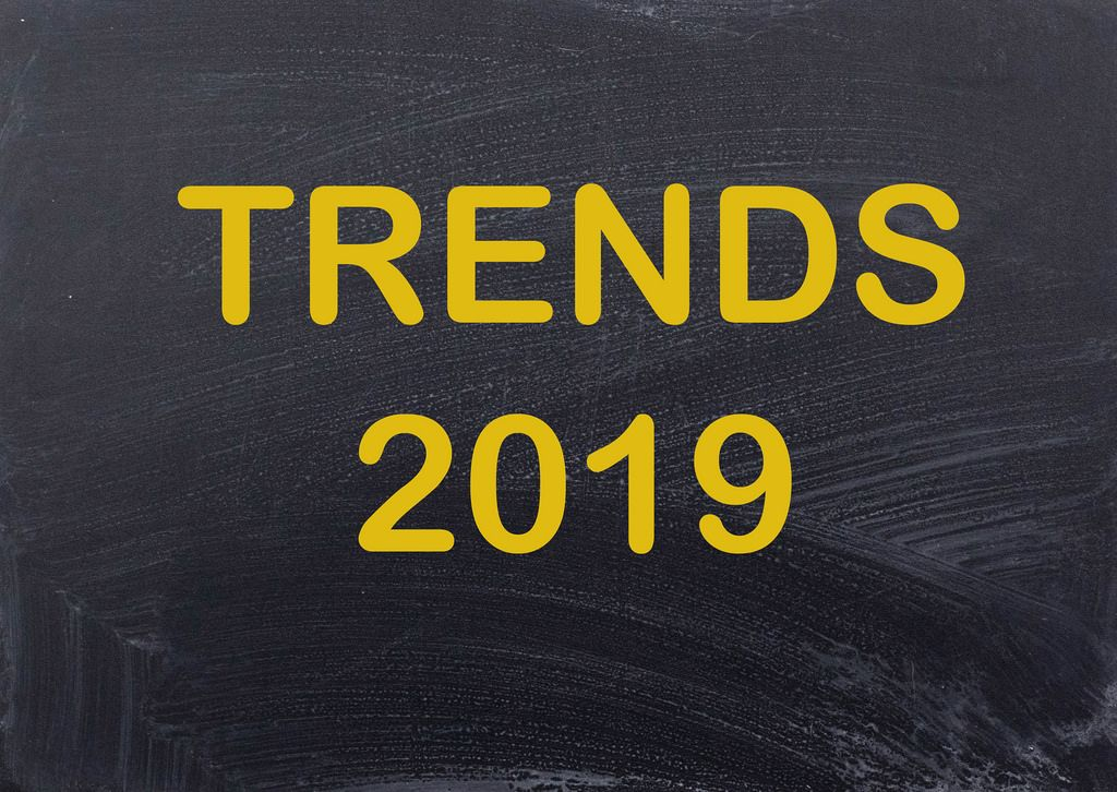Trends 2019 on chalkboard
