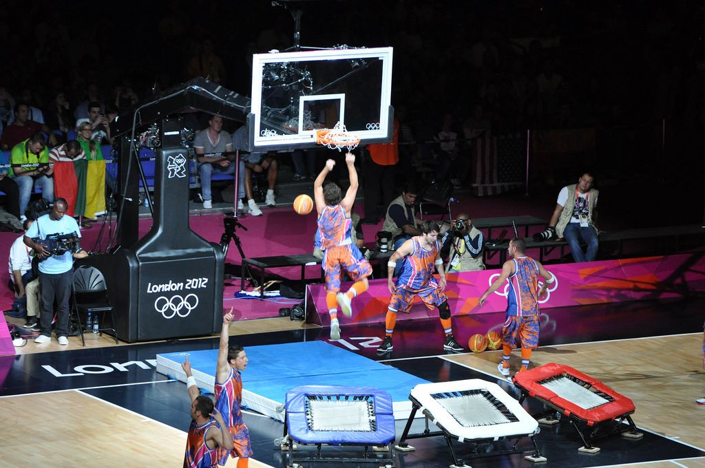 Trick Shots Trampoline Dunks at London Olympics 2012