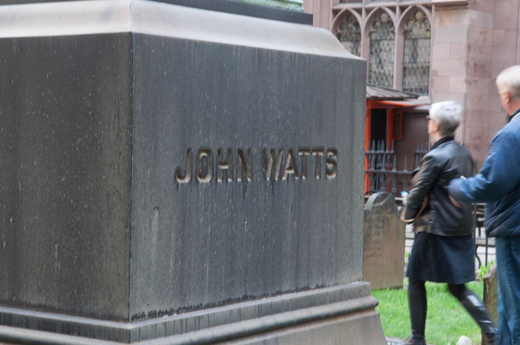Trinity Church Friedhof mit Grabstein von John Watts in New York City, USA