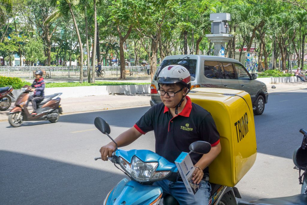 Trump Delivery Motorbike in Ho Chi Minh City