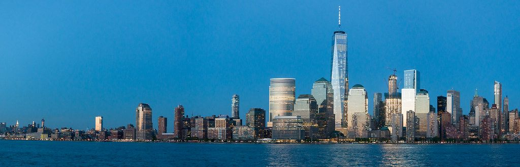 Twilight Photo of New York City Skyline with One World Trade Center and Downtown Manhattan