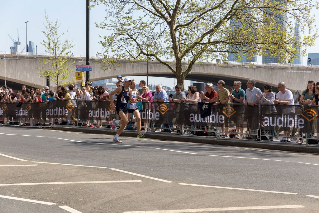Two marathon runners neck and neck at London Marathon 2018
