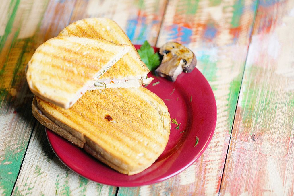Two sandwiches with grilled bread
