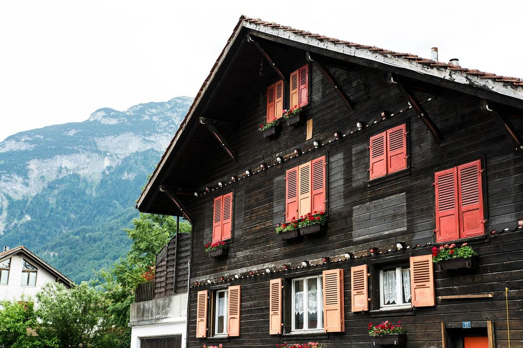 Typical Swiss home in the Alps