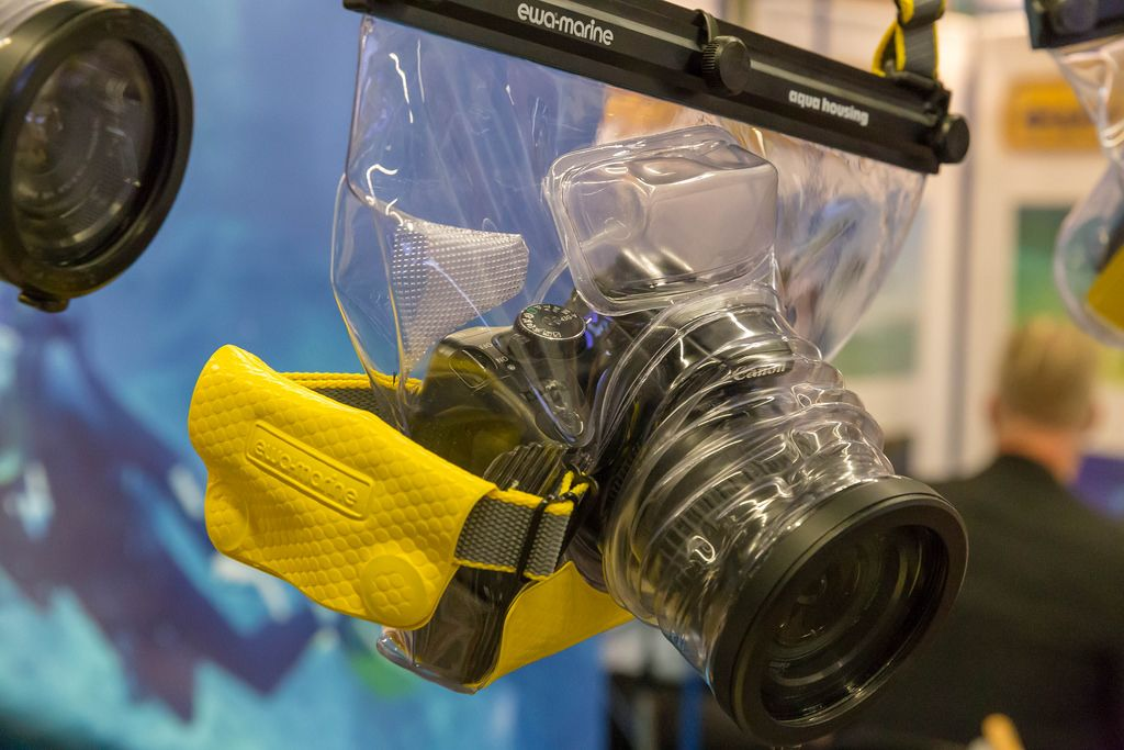 Underwater housing of Ewa Marine with a Nikon camera inside at the Photokina in Cologne