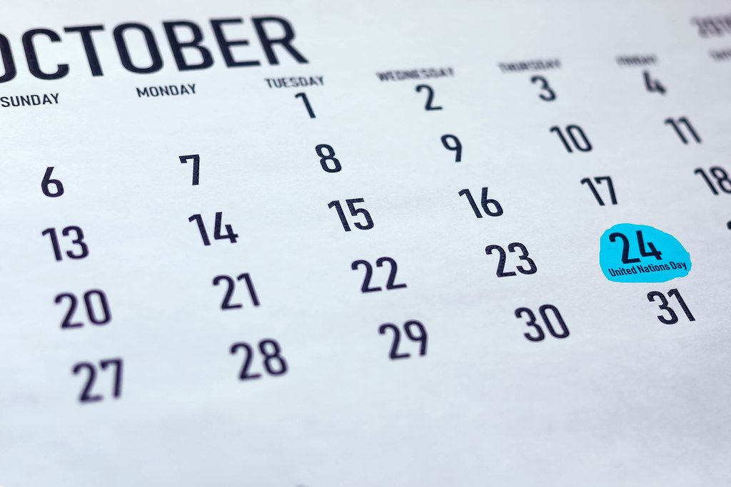 United Nations Day. The date of the 24th October marked on calendar for the month of October