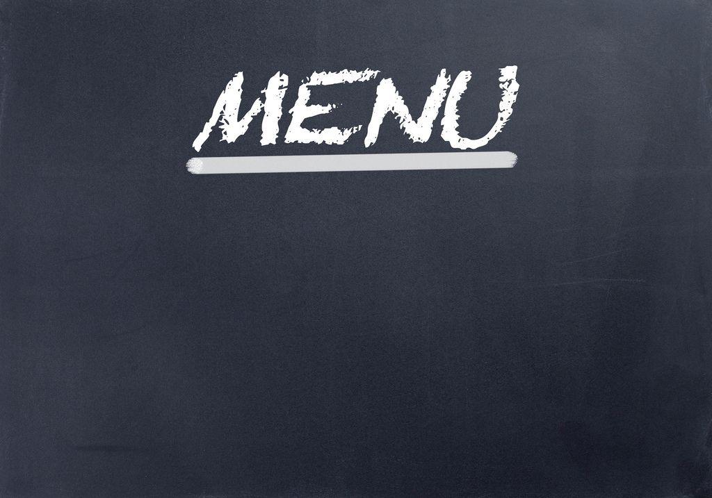 Unterstrichenes Wort MENU in weißer Schrift auf schwarzem Hintergrund
