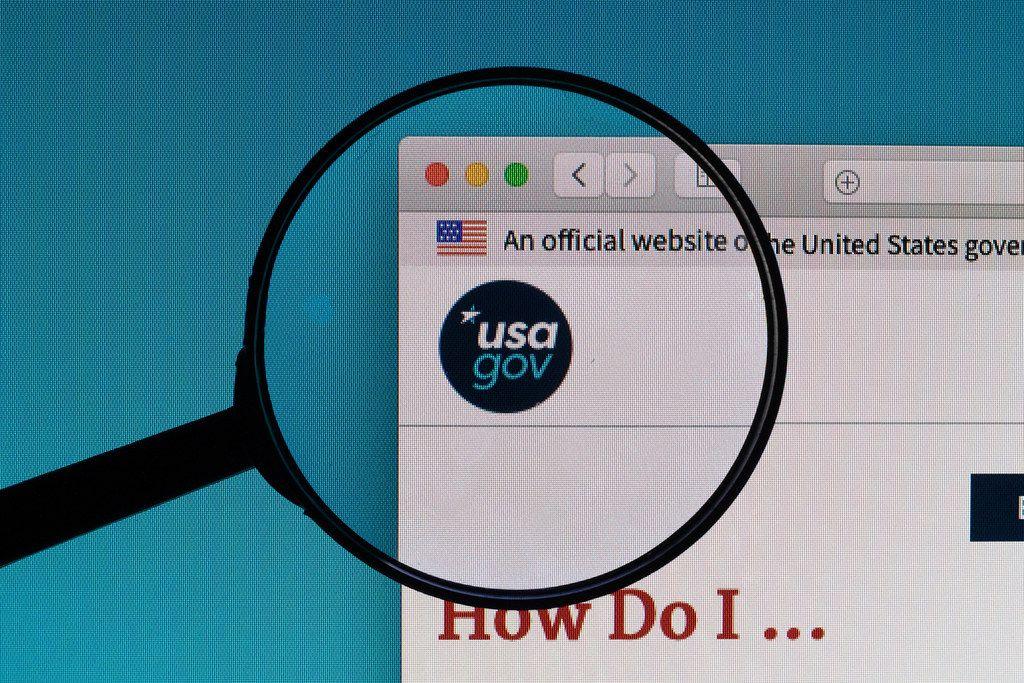USAGov website under magnifying glass