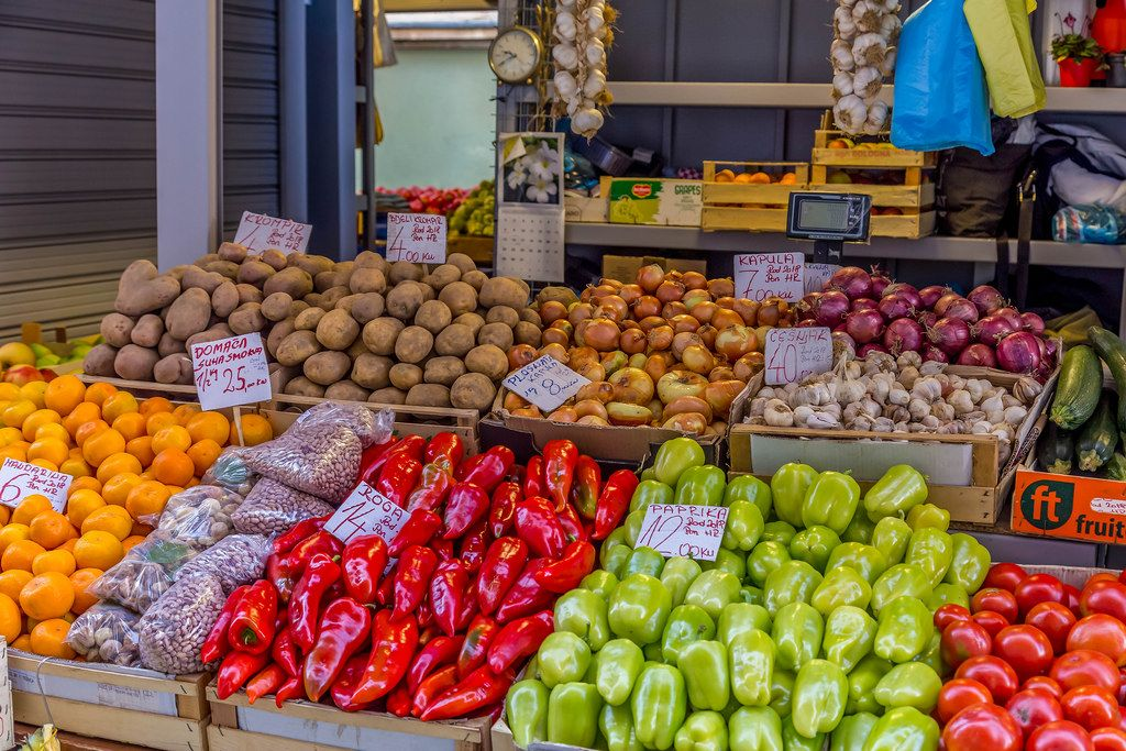 Various fruits and vegetables on marketplace in Rijeka, Croatia