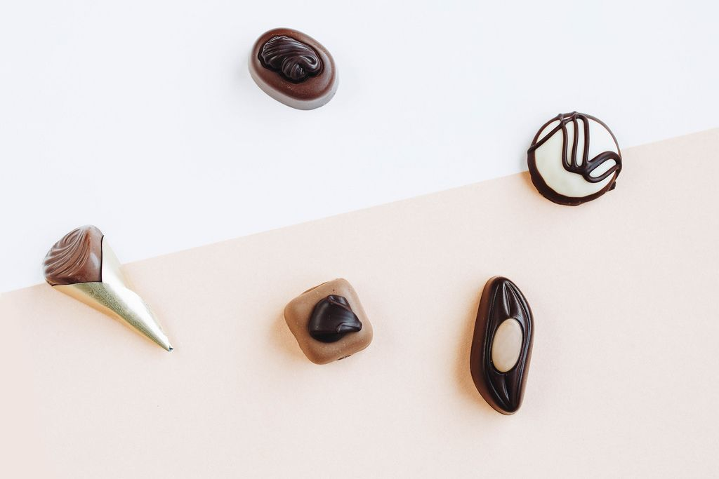 Various kind of chocolate candy . Top view