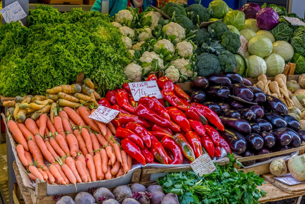 Various vegetables on marketplace in Rijeka, Croatia