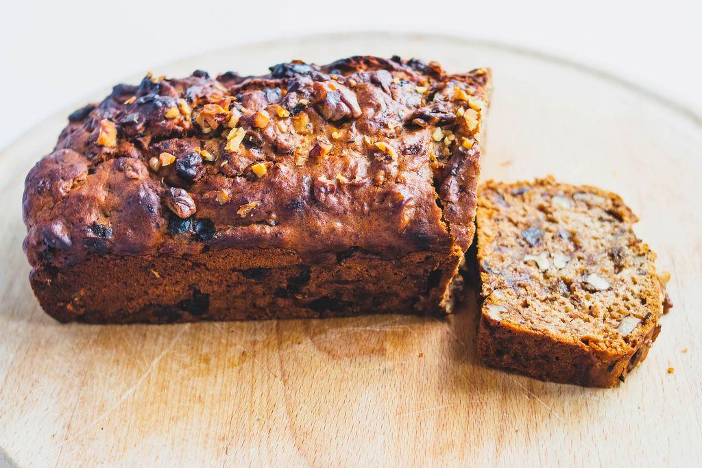 Vegan date walnut bread on wooden board