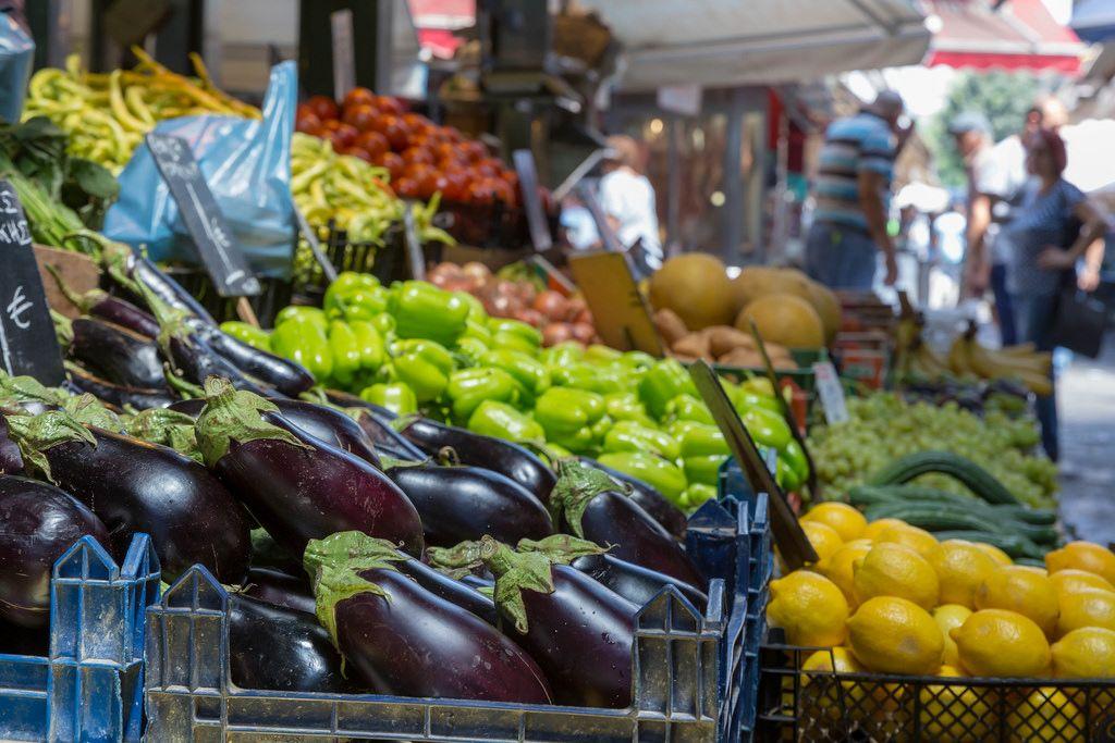 Vegetable stand at Kapani market in Thessaloniki
