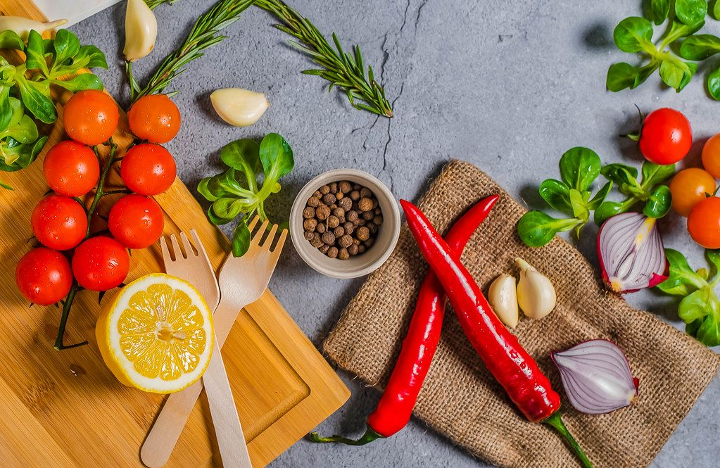 Vegetables, chilli, onions, tomatoes on background (Flip 2019)