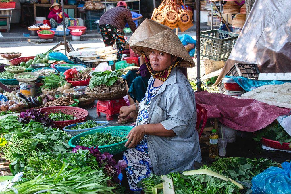 Vegetables Sale Women at the Market Hoi Ann