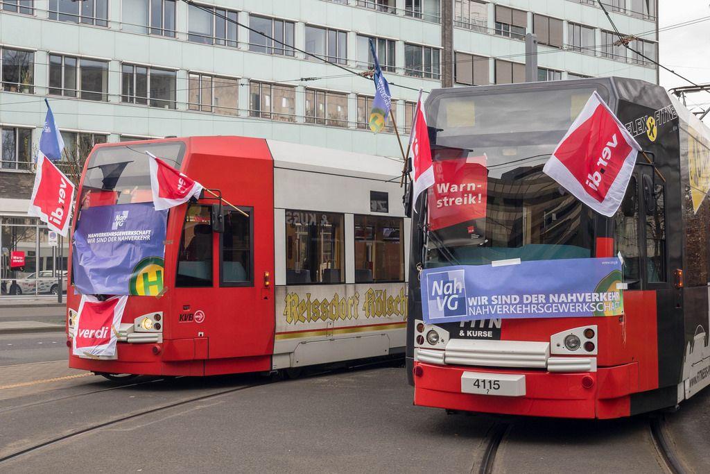 Verdi-Streik legt Straßenbahnen in Köln lahm
