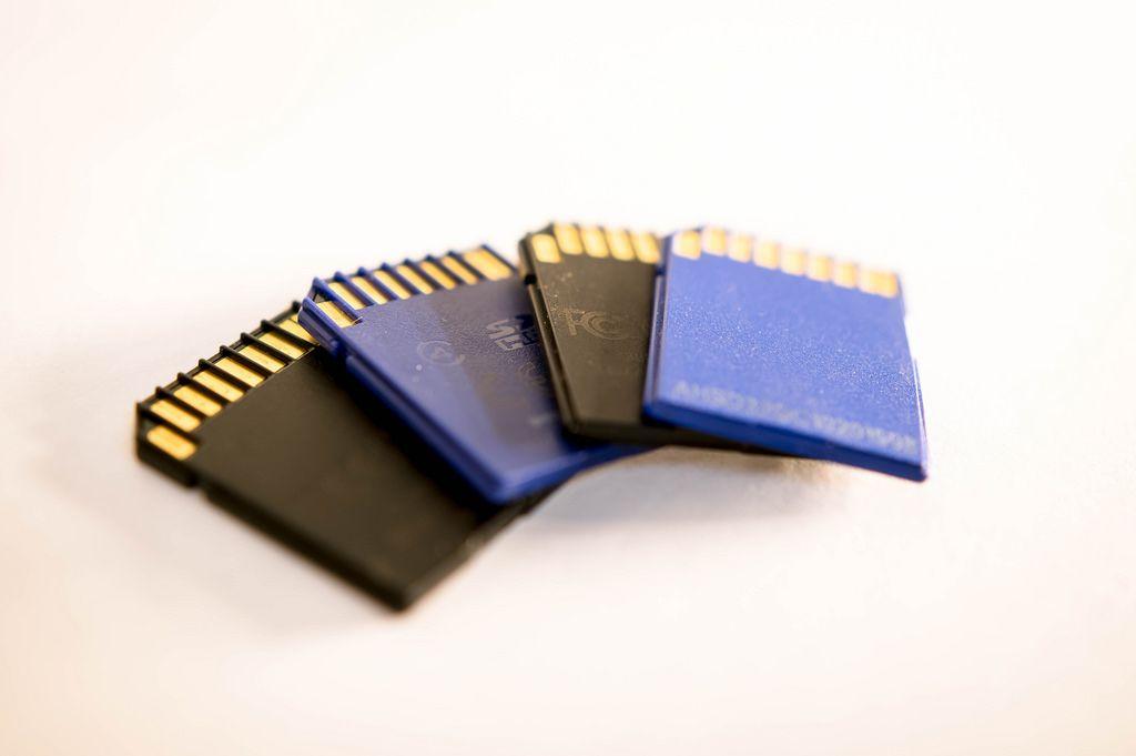 Vier SD Speicherkarten
