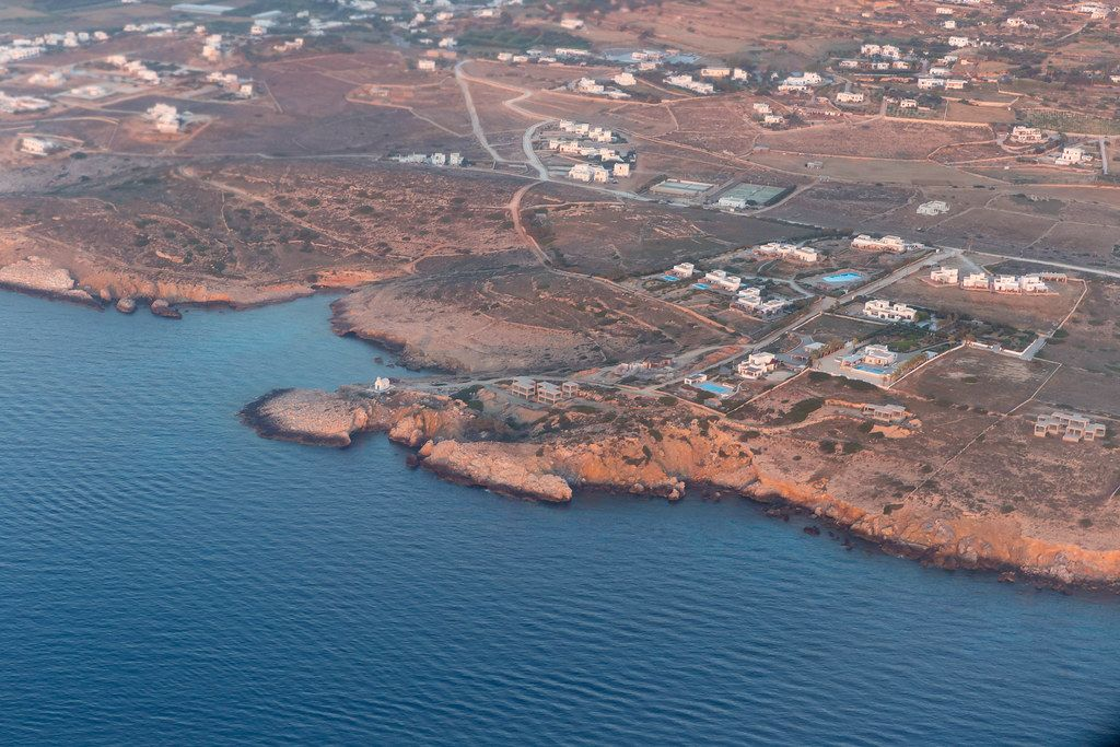 View from the plane of a Greek island in the Aegean Sea