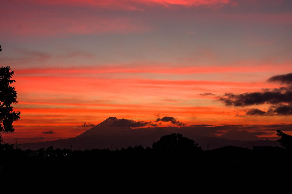 View of Guatemala's volcanos during sunset
