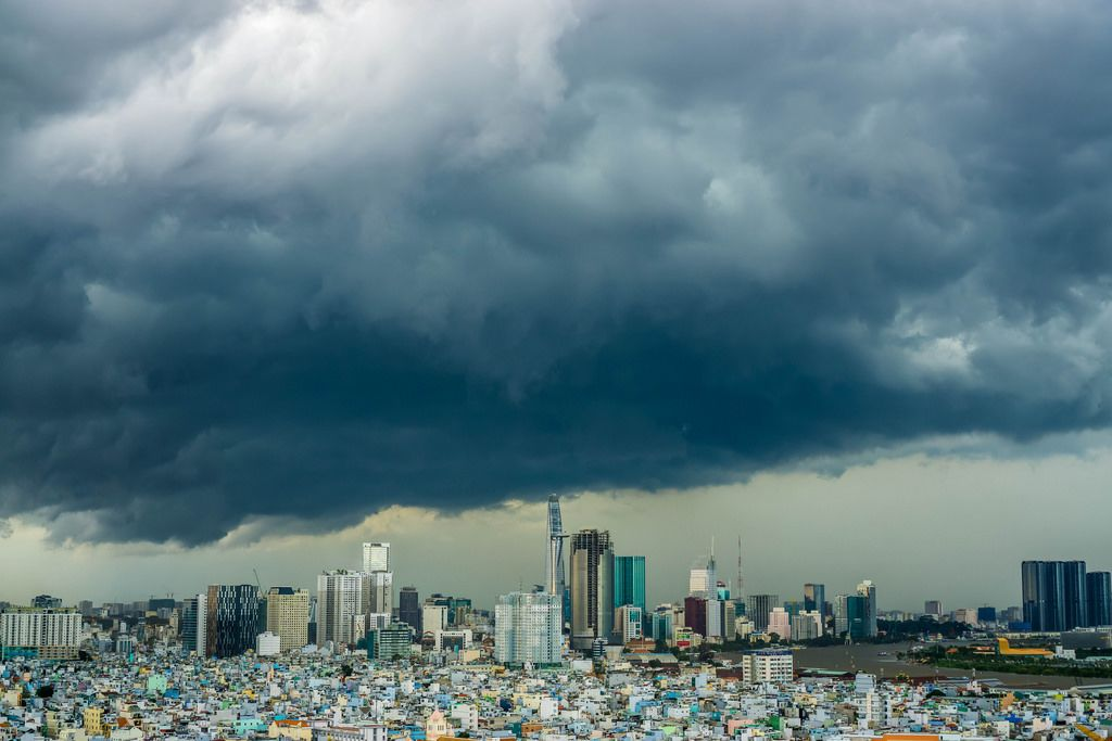 View of Thunderstorm over Saigon's District 1