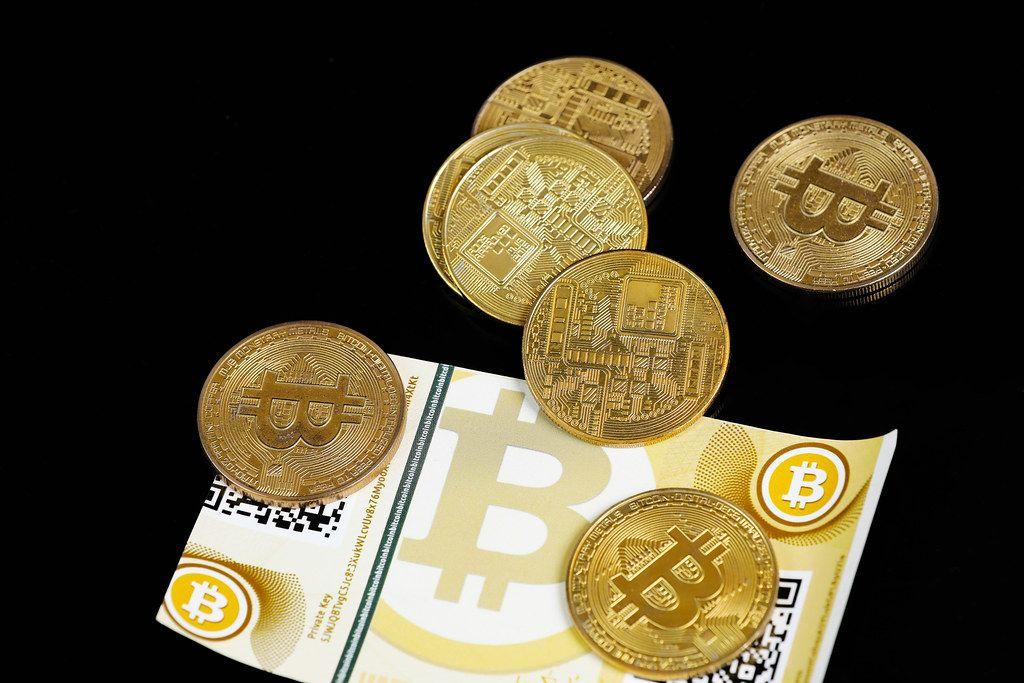 Virtual money, Bitcoin, coins and banknotes