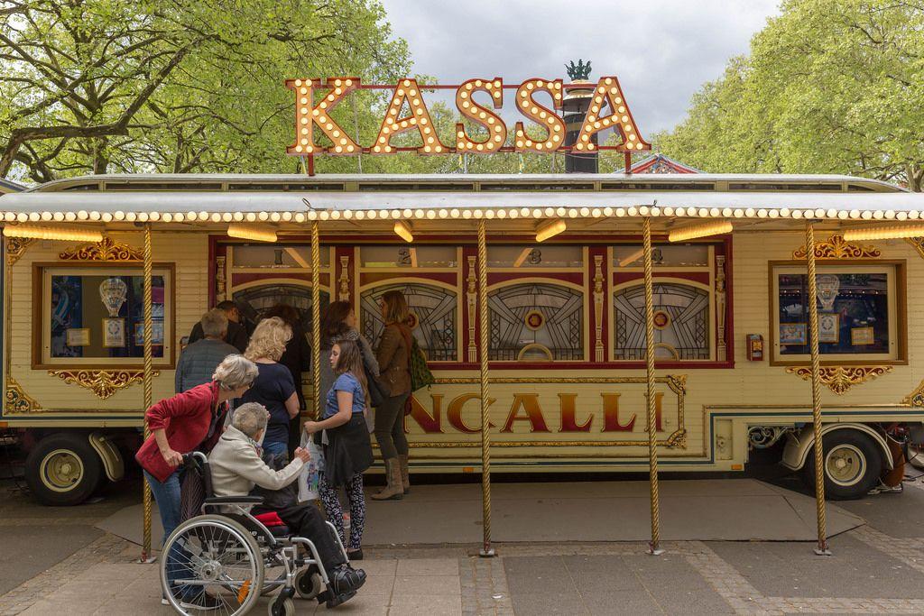 Visitors at the box office at Circus Roncalli