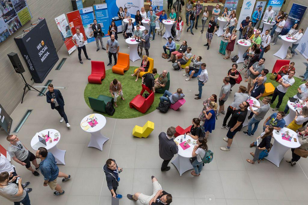 Visitors listening to a talk at Barcamp 2018 Koblenz