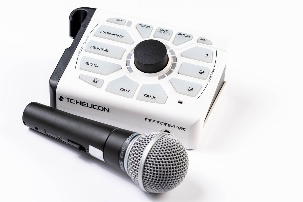 Vocal Harmonizer with Vocal Microphone on the white background