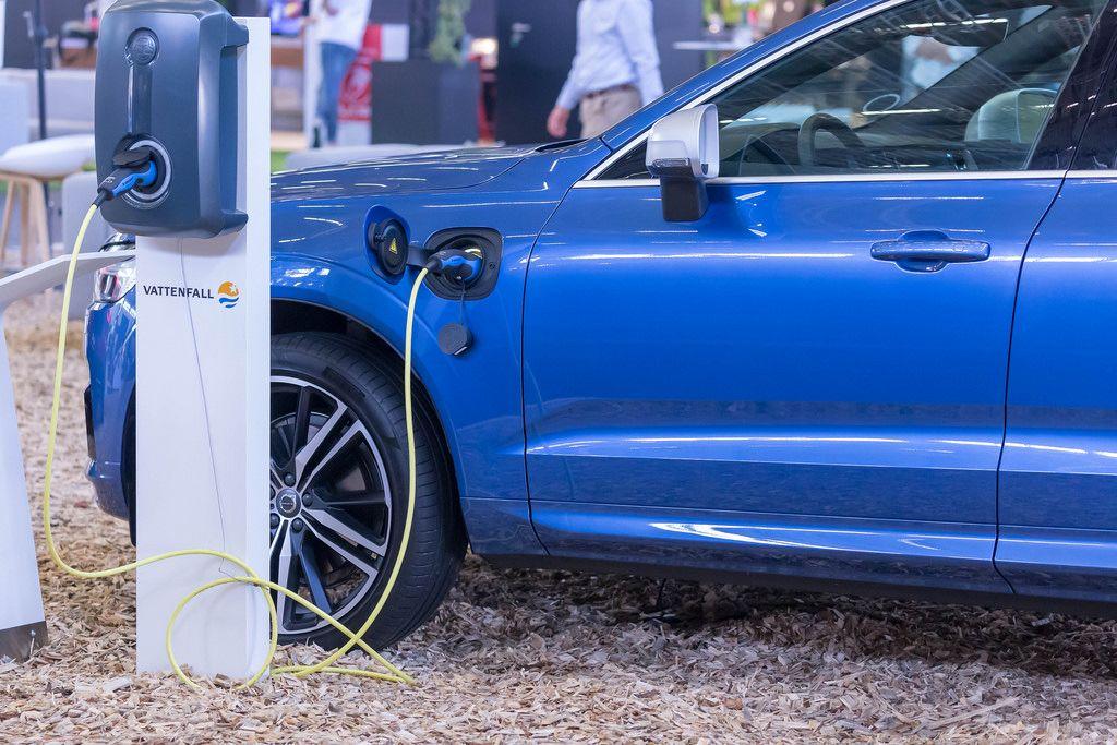 Volvo XC60 Plug-in Hybrid charging on an EV charging station