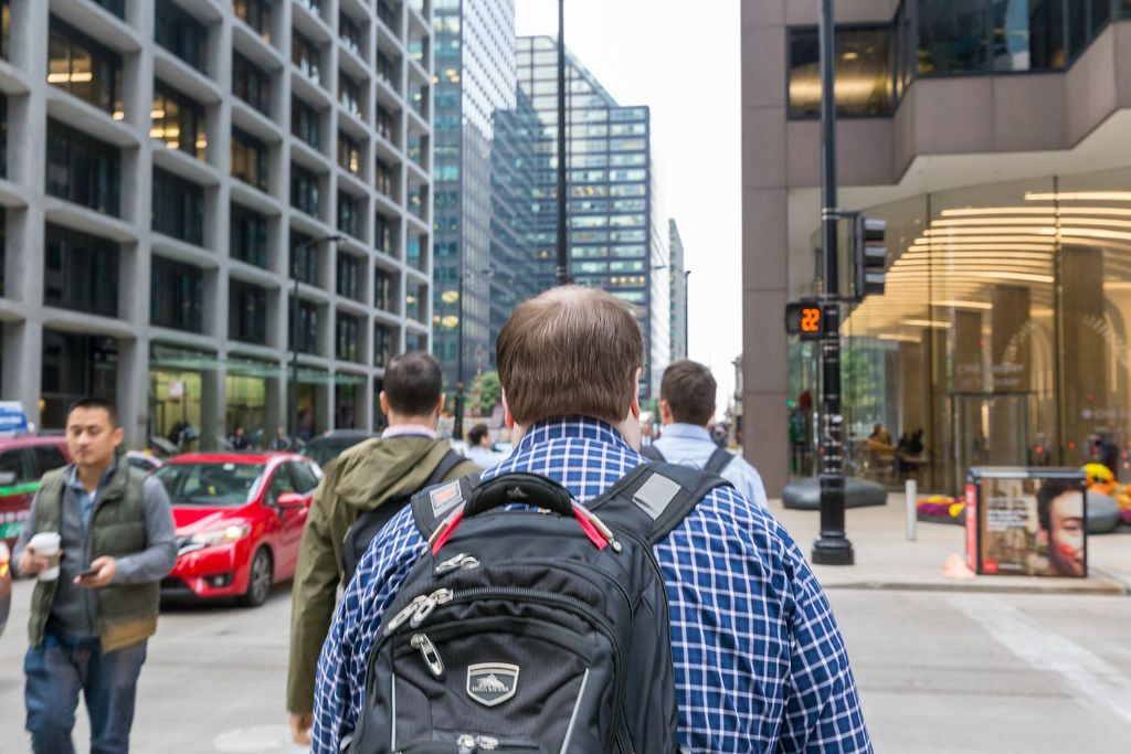 Walking in the streets of Downtown Chicago