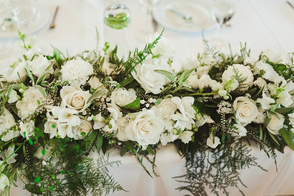 Wedding Flower Rose Compositon On Table