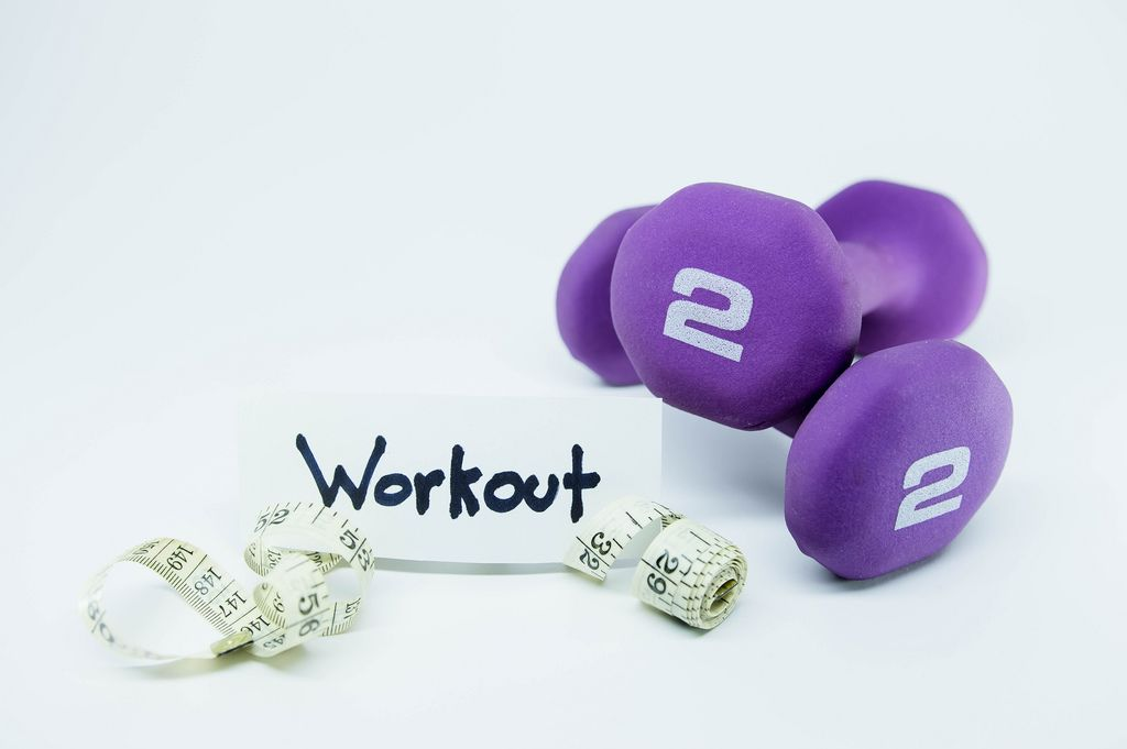 Weights and meter with a WORKOUT tag