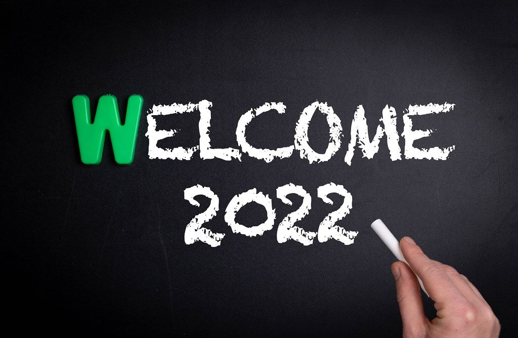 Welcome 2022 text on blackboard