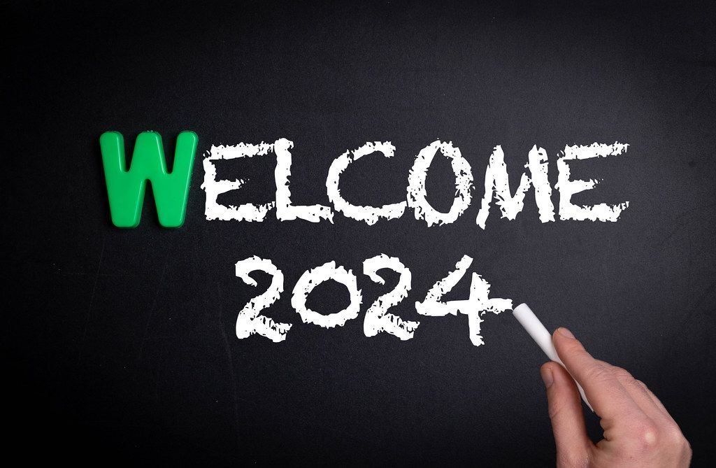 Welcome 2024 text on blackboard