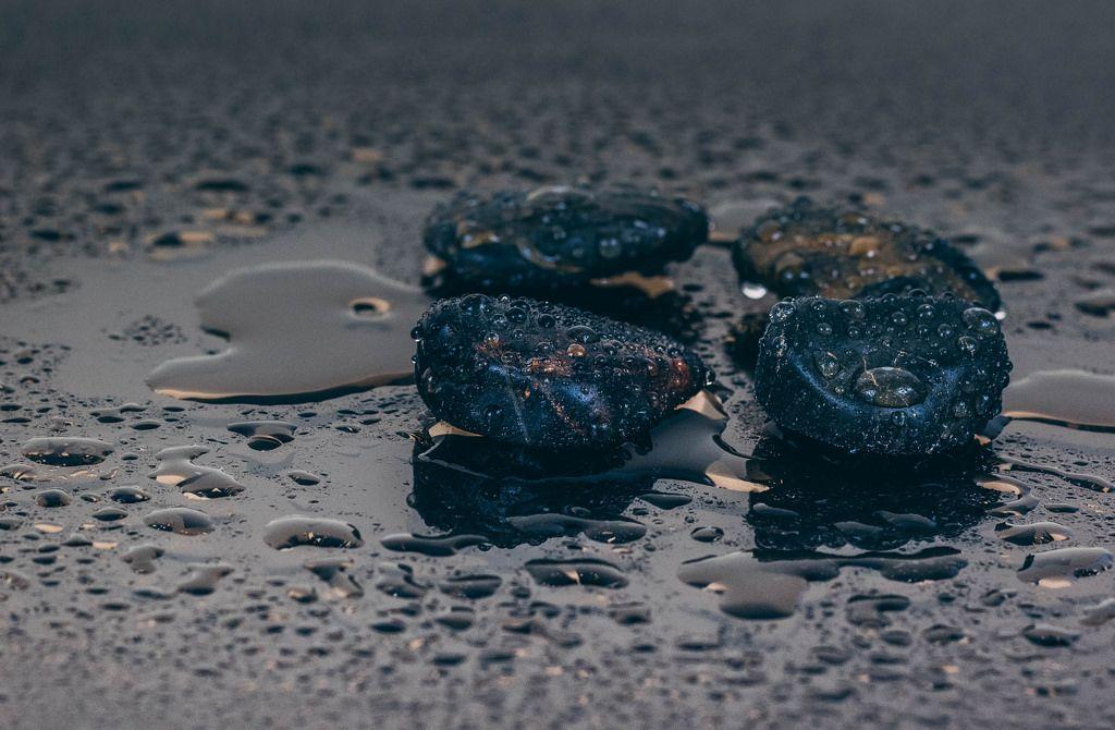 Wet black stones