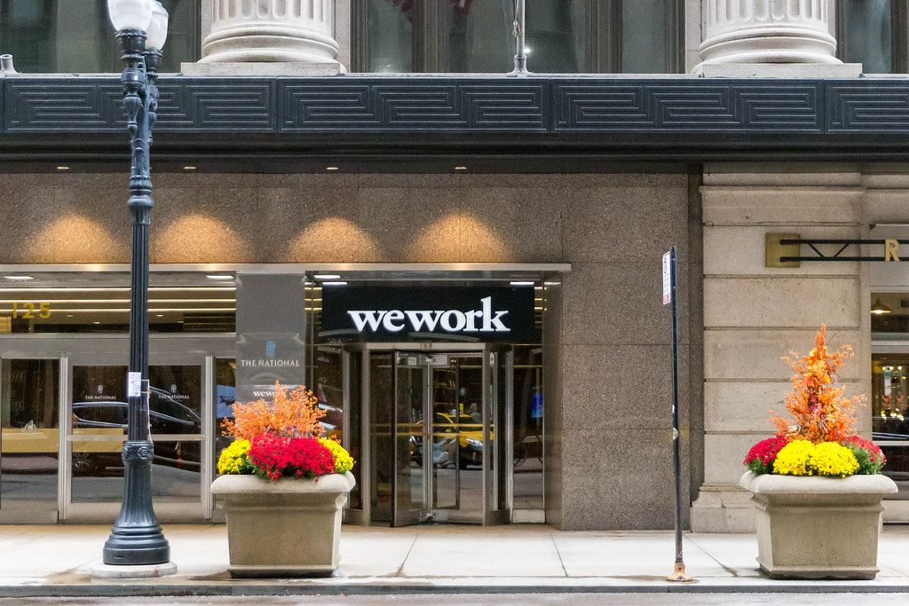 WeWork offering coworking workspace and office spaces in the National Building in Downtown Chicago