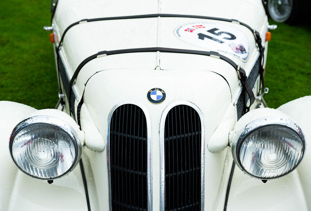White classic BMW car