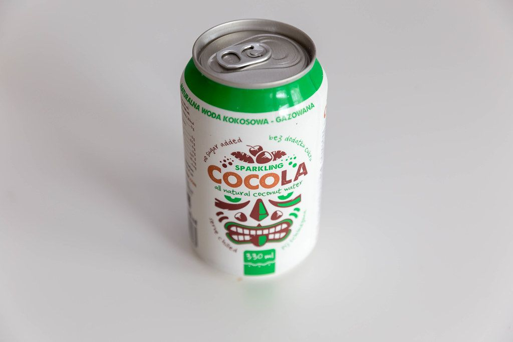 White Cocola, Polish refreshing drink with natural coconut water in a closed can