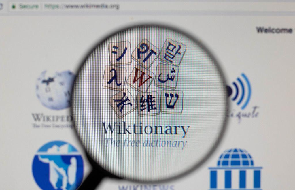 Wiktionary-Logo am PC-Monitor, durch eine Lupe fotografiert