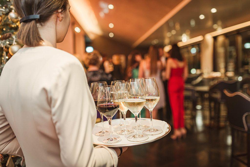 Wine Plate Holding By Waitress In Restaurant (Flip 2019)